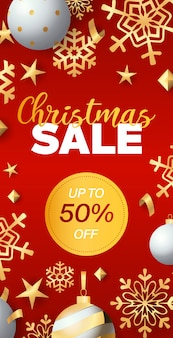 Christmas sale flyer design with discount tag