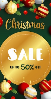 Christmas sale flyer design with golden label