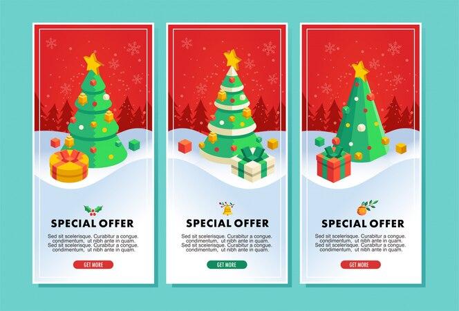 크리스마스 트리 및 선물 일러스트와 함께 크리스마스 판매 전단지 또는 배너 벡터 일러스트