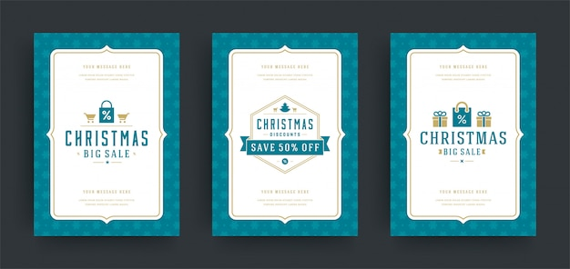 Christmas sale flyers or banners design set