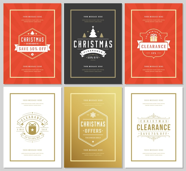 Christmas sale flyers or banners  set discount offers and snowflakes pattern background with ornate decoration. vintage typography labels design templates.