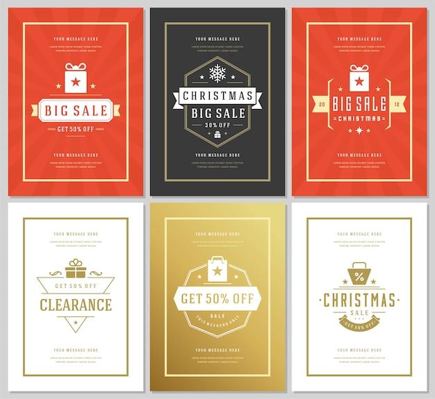 크리스마스 판매 전단지 또는 배너 디자인 세트 할인 제공