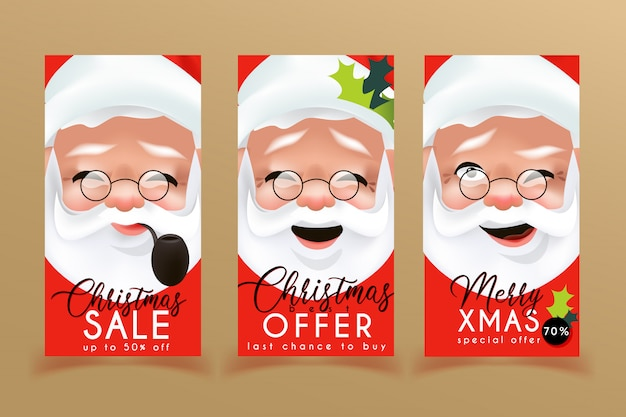 Christmas sale flyers templates with santa claus