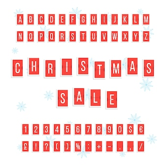 Christmas sale from red scoreboard. concept of calendar indicator, flyer or coupon element, promo, count, countdown. isolated on white background. flat style trend modern design vector illustration