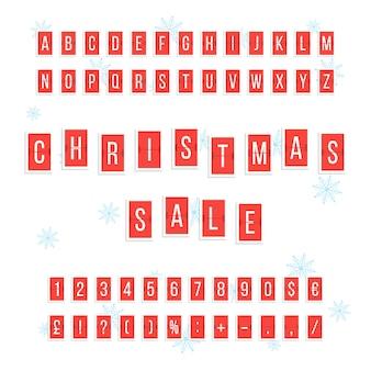 赤いスコアボードからのクリスマスセール。カレンダーインジケーター、チラシまたはクーポン要素、プロモーション、カウント、カウントダウンの概念。白い背景で隔離。フラットスタイルトレンドモダンなデザインのベクトル図