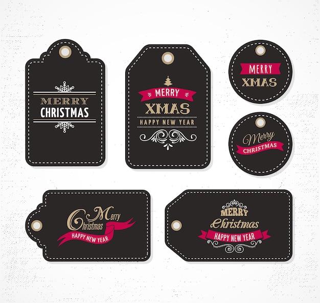 Рождественская распродажа, подарочные бирки и этикетки с надписями, типография