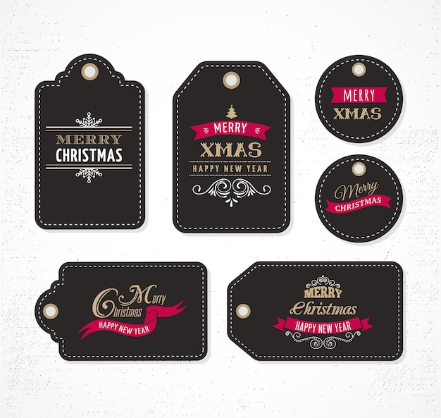 Christmas sale, gift tags and lables with lettering, typography