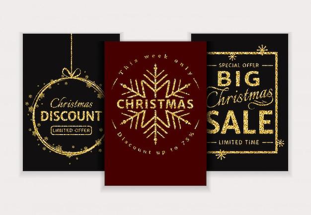 Christmas sale. glitter banners set.