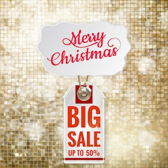 Christmas sale on gold background.