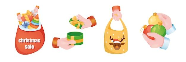 Рождественские продажи графическая концепция руки набор. человеческие руки держат сумку санта-клауса, подарочную коробку с бантом, хозяйственную сумку с оленями, праздничные шары. рождественские символы. векторная иллюстрация с 3d реалистичными объектами