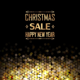 Christmas sale and happy new year template with decorative arrows and hexagonal golden elements as combs on black