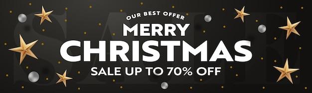 Рождественская распродажа заголовок баннер реалистичный шаблон