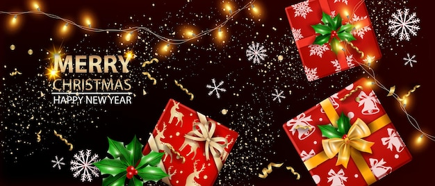 クリスマスセールホリデーバナーベクトル新年あけましておめでとうございます豪華な背景ガーランドライトスノーフレーク