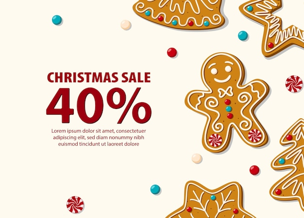 Christmas sale horizontal banner with gingerbread cookies.