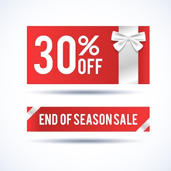 Christmas sale horizontal banners with information about end of seasonal discounts