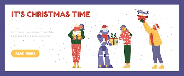 Christmas sale horizontal vector banner. happy people and robots with gift boxes.