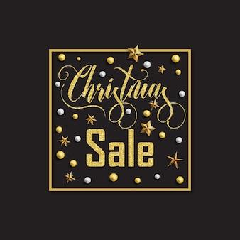 Рождественская распродажа надпись золотые блестки