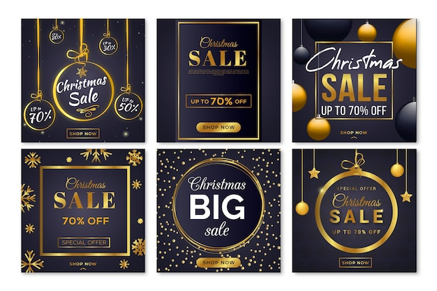 Christmas sale instagram post pack