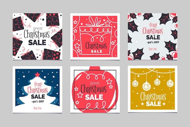Christmas sale instagram post set