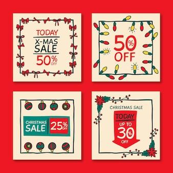 Рождественская распродажа instagram пост шаблон