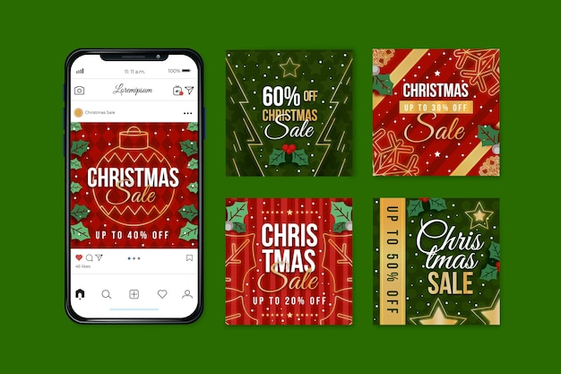クリスマスセールinstagram投稿セット