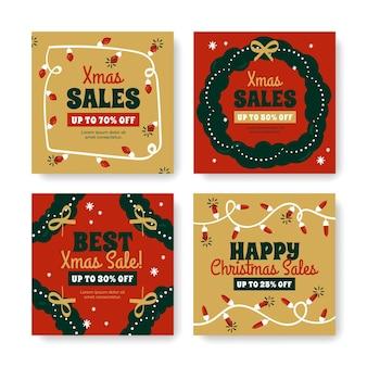 Рождественская распродажа instagram постов коллекция шаблонов