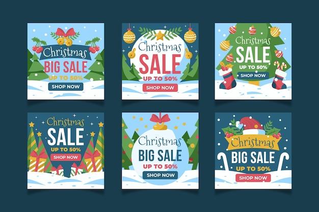 Рождественская распродажа instagram шаблон сообщения в социальных сетях