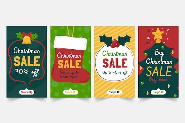 Raccolta di storie di instagram di vendita di natale