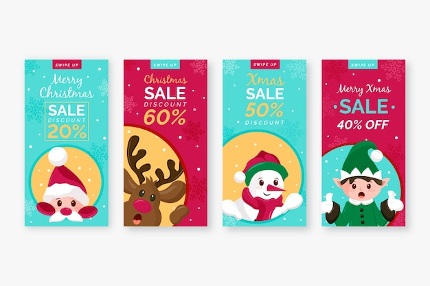 Christmas sale instagram story set