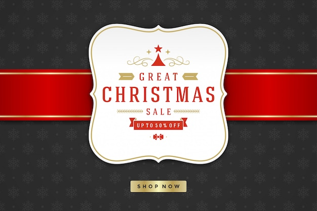 Christmas sale label design on pattern background