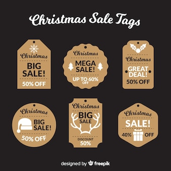 Christmas sale label with silhouette collection