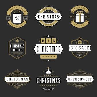 Рождественские продажи этикетки и значки с набором текстовых типографских украшений в винтажном стиле