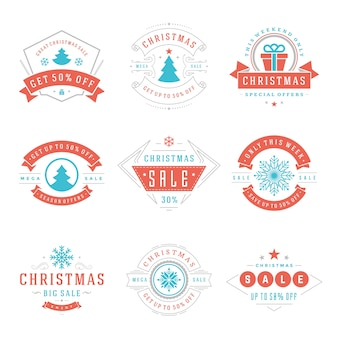 Christmas sale labels and badges with text typographic decoration design vector vintage style set for banners, promotion brochures, holidays discount posters, shopping advertising flyers