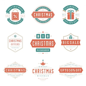 Christmas sale labels and badges