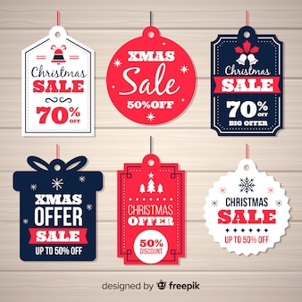 Christmas sale labels different shapes