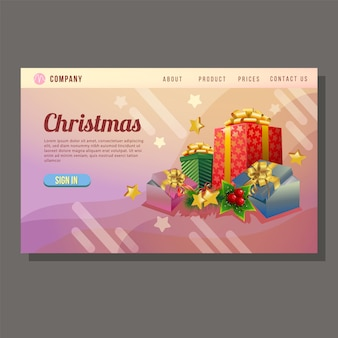 Christmas sale landing page colored present box