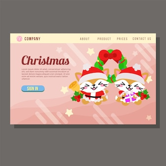 Christmas sale landing page cute cat characters