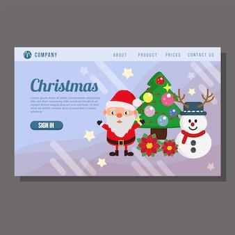 Christmas sale landing page snowman pine tree