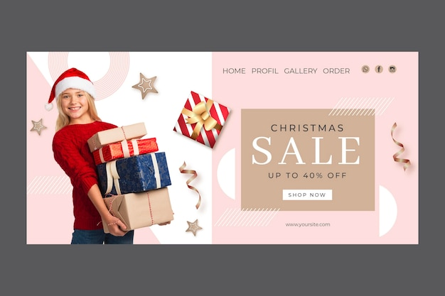 Christmas sale landing page template