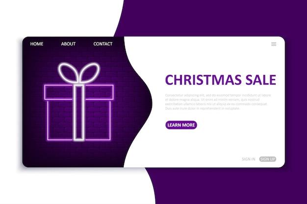 Шаблон целевой страницы рождественской распродажи в неоновом стиле для сезонных праздничных скидок