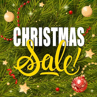 Christmas sale lettering and garlands