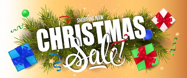 Christmas sale lettering and gift boxes