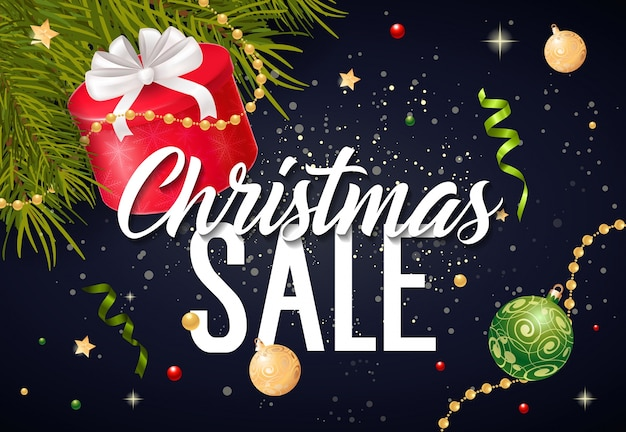 Christmas sale lettering and gift