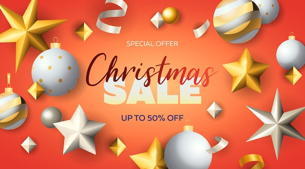 Christmas sale lettering with stars and baubles
