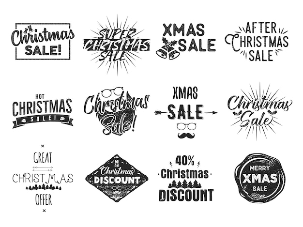 Christmas sale lettering and xmas calligraphy set.