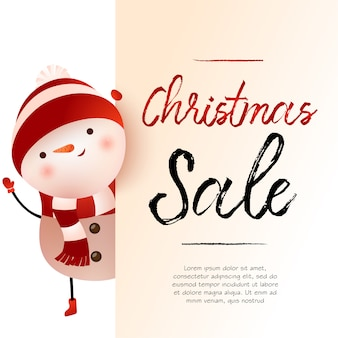 Christmas sale light beige banner design with snowman and sample text
