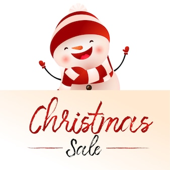 Christmas sale light beige poster design with cartoon snowman