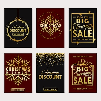 Christmas sale luxury cards or banners set