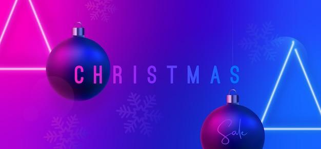 Рождественская распродажа неоновый баннер