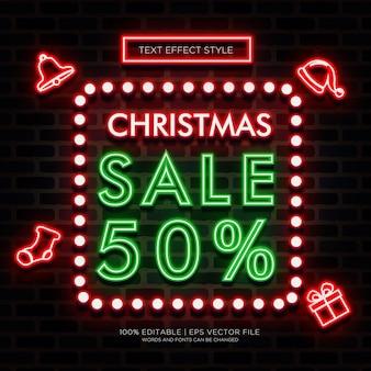 Рождественская продажа неоновый текст эффекты